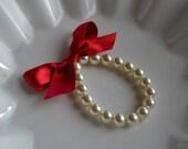 Little Girl Pearl Bracelet with ribbon for flower girl gift, birthday gift, baby or girls photo prop