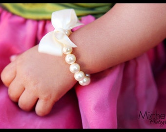 Flower Girl Bracelet gift - pearl and ribbon for flower girls, toddler birthday, or babies photo prop
