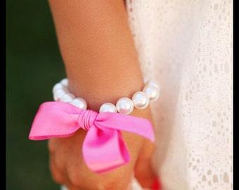 Flower Girl Bracelet pearl and ribbon, flower girl gift, also for toddler birthday, or babies photo prop - custom made