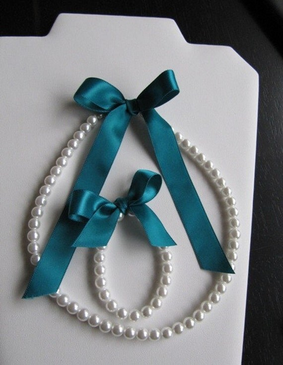 Little Girl Pearl and ribbon and Bracelet set perfect for flower girls or first pearls custom made for you