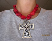 """Red """"Turquoise"""" Necklace with Removeable Zebra Stripe and Rhinestone Cross Pendant"""