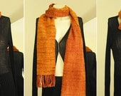 OOAK Hand Woven, Hand Dyed REVERSIBLE Scarf in Orange