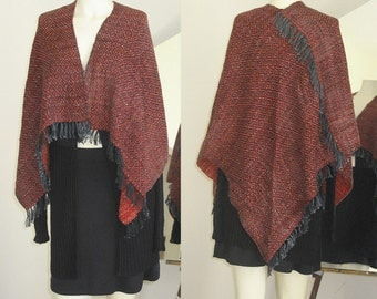 OOAK Hand Woven, Hand Dyed REVERSIBLE wrap/shawl in Egyptian Red & Black