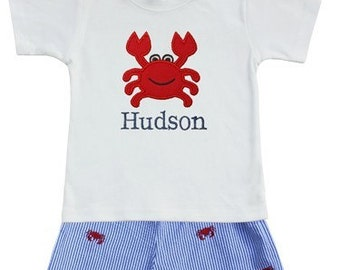 Personalized Crab Shorts Set-Monogrammed Boys Shirt and Shorts