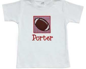 Personalized Boys Football Patch Shirt or Onesie CUSTOM TEAM COLORS Short or Long Sleeve