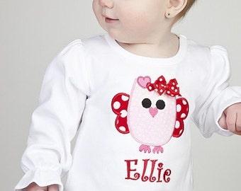 Adorable Valentine's Owl Shirt/Onesie-Short or Long Sleeve