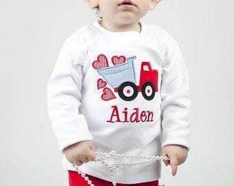 Valentine's Dump Truck Shirt/Onesie-Short or Long Sleeve