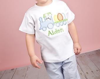 Boys Applique Easter Bunny Train Shirt/Onesie-ADORABLE-Short or Long Sleeve