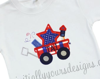 Applique Fourth of July Wagon Shirt or Onesie, Monogrammed Patriotic Shirt