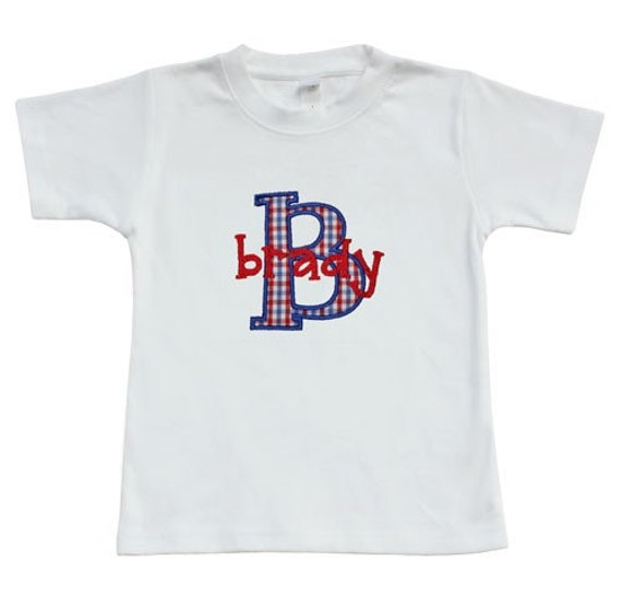 Applique Boys Red and Blue Initial Shirt, Monogrammed Fourth of July Shirt