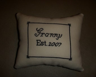 Handmade Embroidered Granny Pillow Custom Order OOAK Border Cursive Black White Beige Holiday Gift