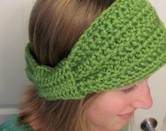 Olive Green Bow Earwarmer Headband