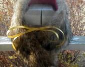 Coyote fur neckwarmer scarf with puple fleece liner