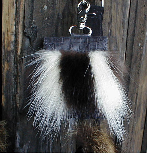 Skunk fur and basket weave imprinted black leather cell phone pouch handmade