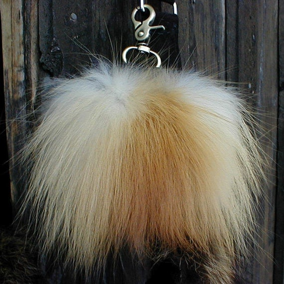 Red fox fur and basket weave imprinted black leather cell phone pouch handmade