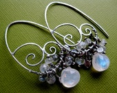 Rainbow moonstone faceted earrings with swirls of silver