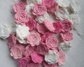 30 WOOL Felt Flowers- You Choose Colors-Felt Flower-Felt Posie-Felt Rosette-Wedding Supplies-DIY
