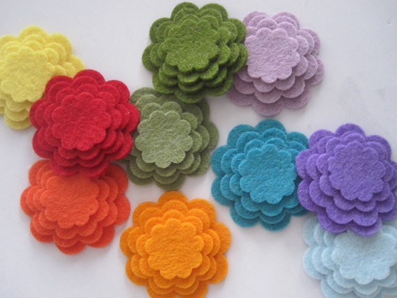 50 Layered Wool Felt Flowers (200 pieces)-Scalloped Felt Flower-You choose colors-DIY hairclips-wedding-birthday