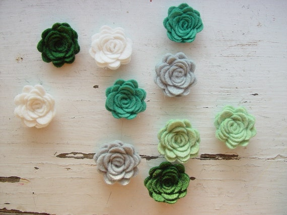 WOOL Felt Flowers-Mossy Meadows Collection-Felt Posie-Felt Rosette-Felt Flower Die Cut-Felt Roses-Felt Flower