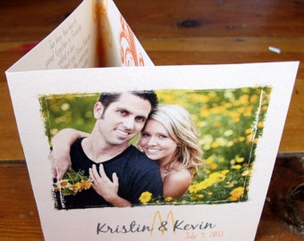 Tri Fold Wedding Invitation - includes a PERFORATED RSVP CARD - Kristin & Kevin (30)