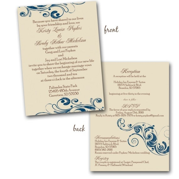 Champagne And Blue Wedding Invitation Sample By