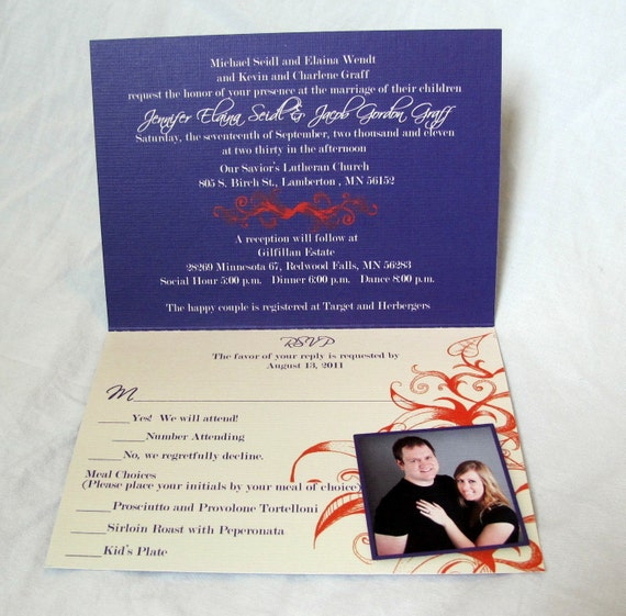Wedding Invitation - Folded with a PERFORATED POSTCARD RSVP - (53)