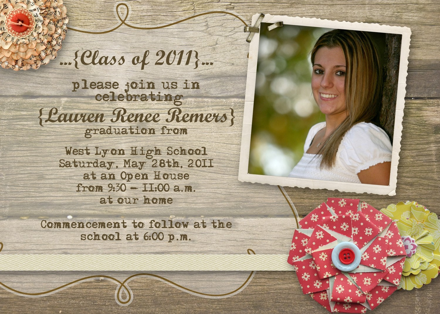Rustic Graduation Open House Invitation by gwenmariedesigns