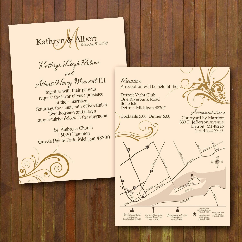 Classy Wedding Invitations Custom Double By Gwenmariedesigns