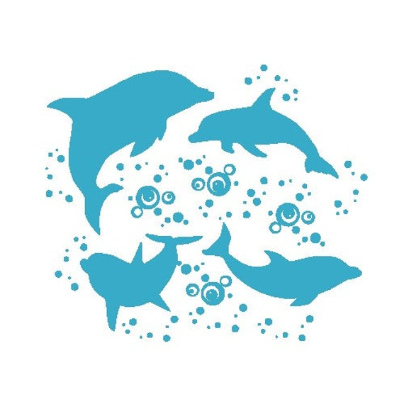 Dolphin Wall Decal set- Dolphin Party Ocean Animal Full Room Vinyl Wall Decal SET