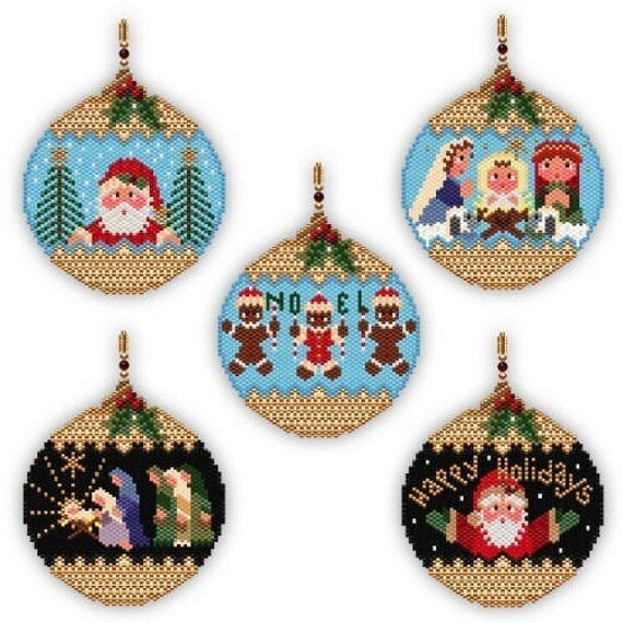 10 Beaded Christmas Ornament PDF Patterns 702-711