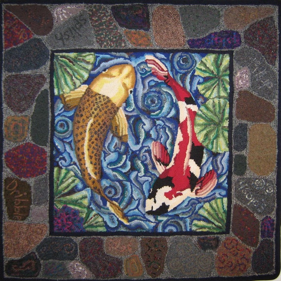 Items Similar To Koi Fish Hooked Rug On Etsy