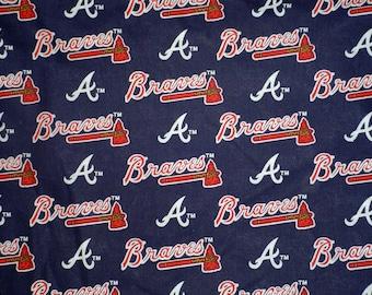"MLB Atlanta Braves Cotton Fabric - 18"" X 30"",  New, Rare"