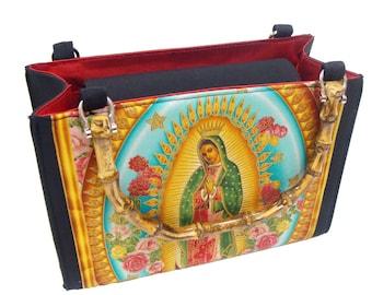Lady Guadalupe Virgin Mary Box size US handmade bag with bamboo handle Handbag Purse