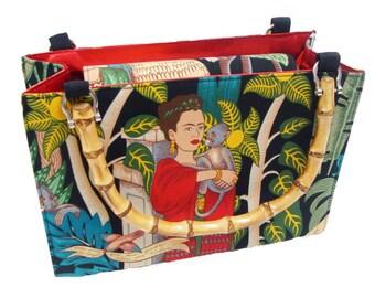 Frida  latino  Artist  Box size US handmade bag with bamboo handle Handbag Purse