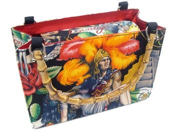 Day of the Dead Contigo  box size US handmade bag with bamboo Handle Alexander Henry fabrics Handbag Purse