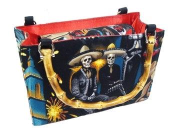 Day of the Dead Fiesta De San Marcos Skeleton box size US handmade bag with bamboo Handle Alexander henry Handbag Purse