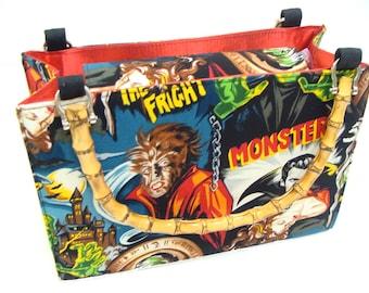 Frankenstein Monsters Horror  Movies  box size US handmade bag with bamboo Handle Alexander Henry Fabric Handbag Purse