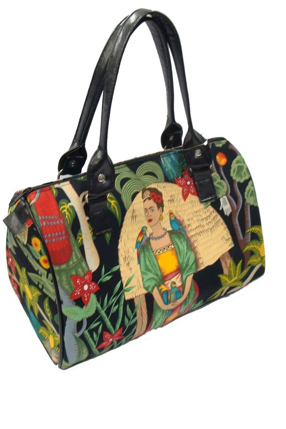 Handbag Doctor bag Satchel Style  Latino Artist Frida   ith Parrots D Alexander Henry Fabric Cotton Fabric Bag Purse, new