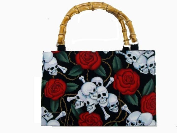 Day of the Dead Skulls red roses box  shape usa handmade bag with bamboo  handle  alexander  henry fabrics