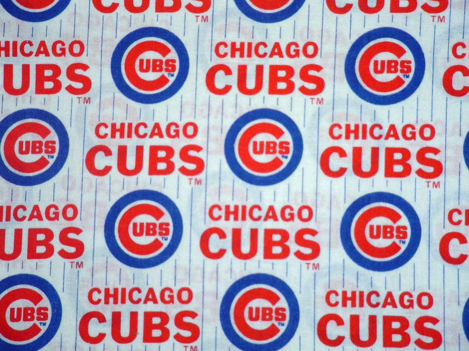 MLB CHICAGO CUBS COTTON FABRIC 18 X30 in WHITE by HandmadeFashion