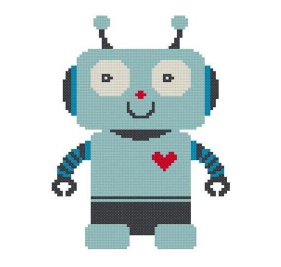 Cross Stitch Pattern - Heartbot