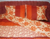 Reserved for Kristen ONLY Elizabeth Queen Size Bedding Set in Orange ,Brown, White Burgundy and  by Mauve Binchely