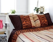 Janice Full Size Bedding Set in Chocolate Brown, Black, Orange, Beige and Red by Mauve Binchely - Available Also in Full Size