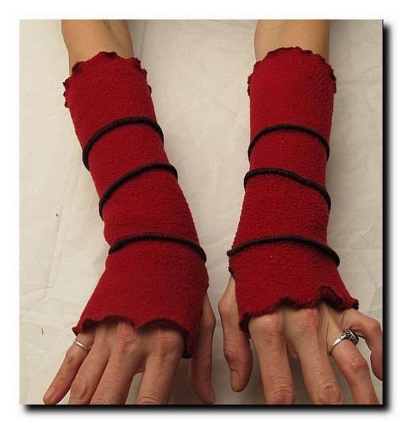 Red Fleece Reversible Arm Warmers - Armies - Winter Warmderland