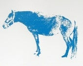SALE 50% off: Standing Horse Screen Print in Bright Blue