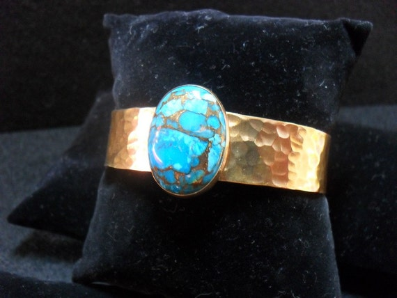 Hammered Red Brass Cuff Bracelet with Mojave Blue Turquoise