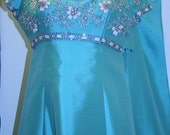 On Reserve for Monica. 1960s Silk Shantung Evening Gown and Coat Set with Glass Beads