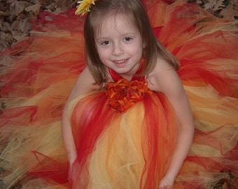 Tropical Halter Tutu dress..Sizes 4/5 years old...Plus a FREE  Flower clip...