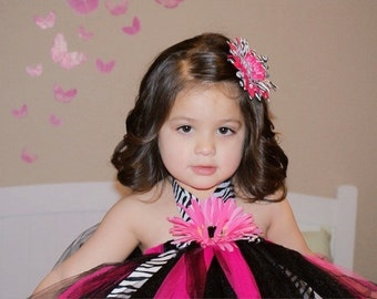 Black Zebra and Hot Pink Tutu Dress..Sizes -2-3 years old..Plus a Free matching tulle hair clip
