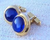 Cuff Links with Sapphire Blue Lucite Cabochon by Swank Vintage
